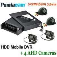 HDVR9804 Mobile HDD video record system GPS WIFI 3G 4G AHD Mobile DVR+4 AHD Cameras+4 extension Cables 4ch Car Rear View System