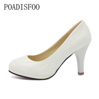 POADISFOO Shoes Women 2017 New Women Shoes 3 Color Black White Red Color PU Thin Heels Pumps Profession Pumps .DFGD-8807