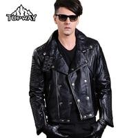 2018 Hot 100% Genuine Leather Mens Punk Style Motorcycle Lambskin Jacket Men Bling Metal Buckles Chaquetas Cuero Hombre
