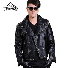 New Lapels Punk Style Motorcycle Lambskin Leathers Coat Genuine Leather Jacket Men Bling Metal Buckles Chaquetas