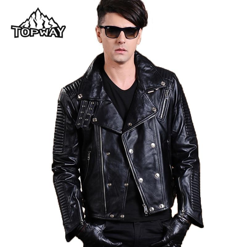 New Lapels Punk Style Motorcycle Lambskin Leathers Coat Genuine Leather font b Jacket b font font