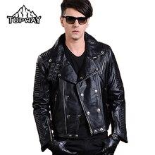 New Lapels Punk Style Motorcycle Lambskin Leathers Coat Genuine Leather Jacket Men Bling Metal Buckles Chaquetas Cuero Hombre