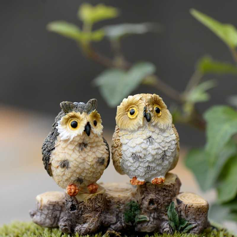 Cute Owl Mini Dollhouse Bonsai Craft Garden Ornament DIY Plant Pots Fairy Garden