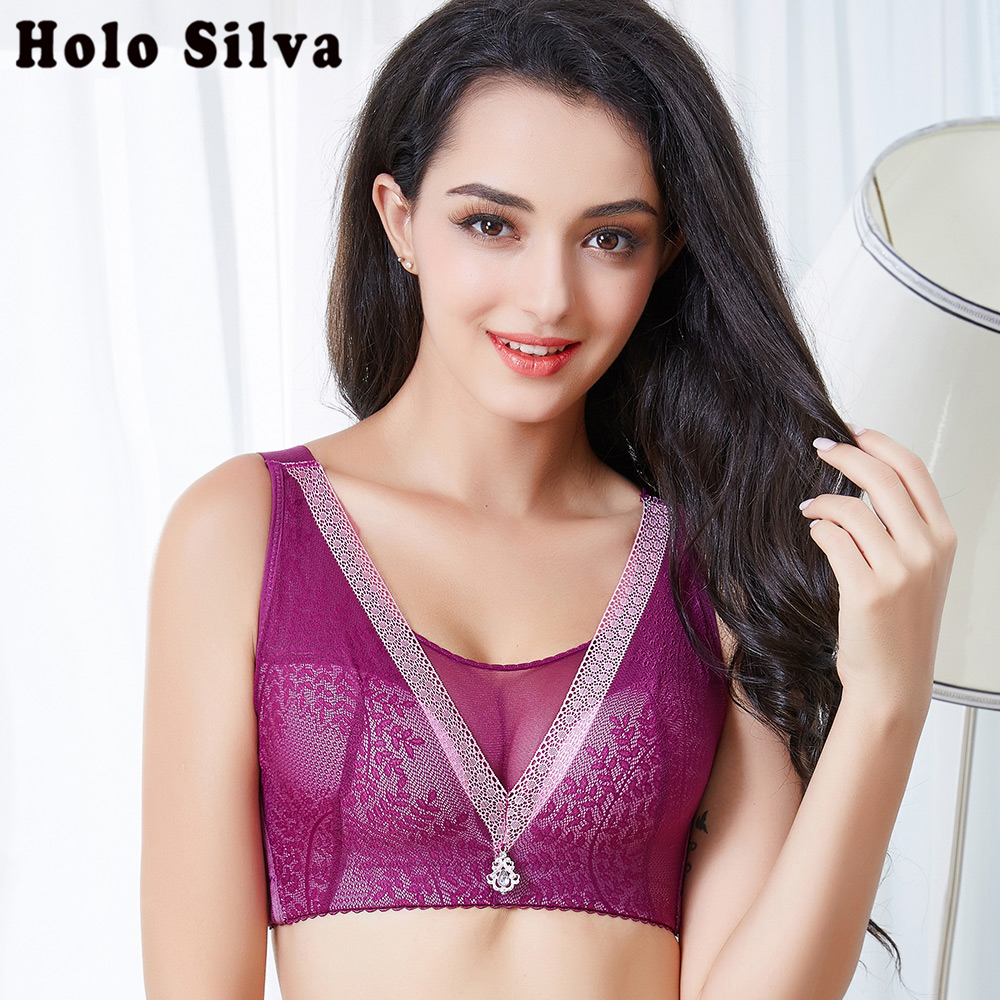 bh push up lace wireless bra crop top sexy lingerie hot erotic plus size bralette brassiere femme wide sheer bra 95-<font><b>120BCD</b></font> size image