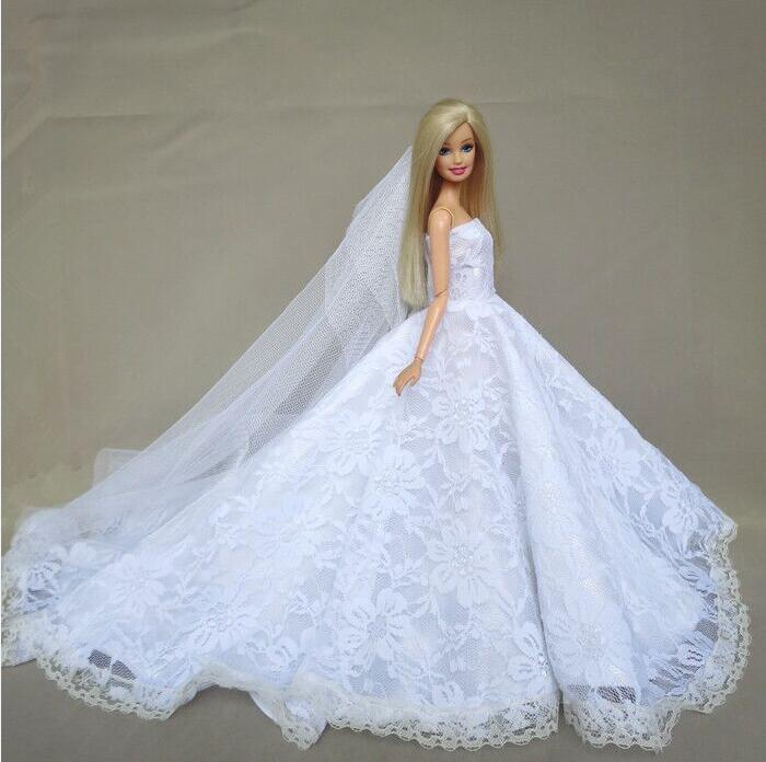 Case For Barbie Doll Clothes Princess Dress Deluxe Trailing Wedding Bride Marriage Dress Fantasy Toys Birthday Gift Ornaments
