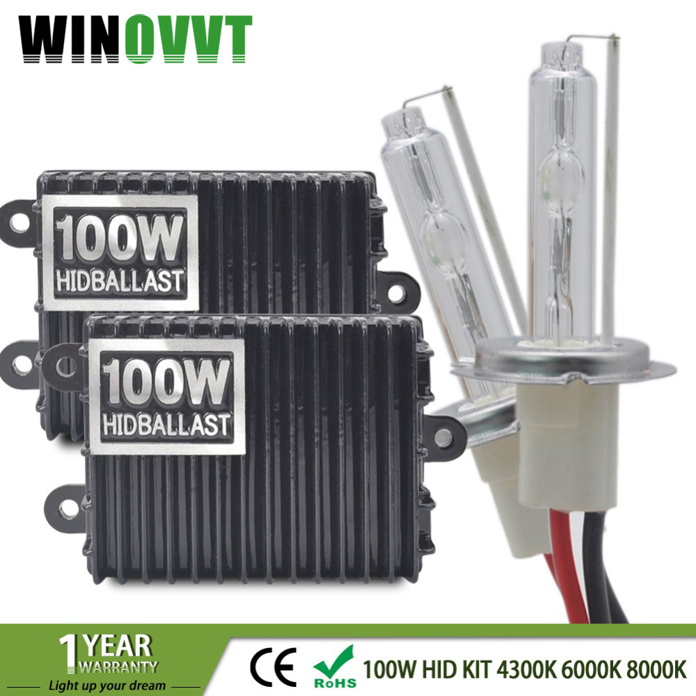 100 W H7 Xénon H4 H1 H3 H11 H8 H9 9005 HB3 9006 HB4 CACHÉ Kit Xénon 4300 k 5000 k 6000 k 8000 k Ballast électronique Ampoule Xénon Lampe 12 V
