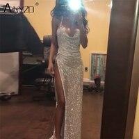 AKYZO 2018 Luxury Rhinestone Backless Metal Long Dress Women Deep V Spaghetti Straps Split Leg Nightclub Sexy Dress