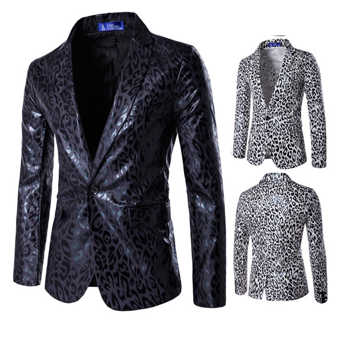 Men's Blazer Slim Fit Style Sex Party Suit Jackets Leopard Blazers Male Fashion Leopard Suit Coats M-3XL Costumes Blazers