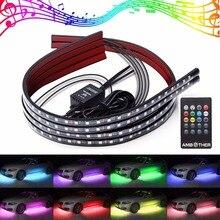 4Pcs Car LED Neon Undercar Glow light Underglow Atmosphere Decorative Bar Lights Kit Strip, 5050 SMD Underbody System Waterproof цена