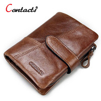 CONTACT S Genuine Leather Men Wallet Passport Cover Short Male Wallet Coin Purse Card Holder Vintage