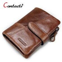 CONTACT'S Echtes Leder Männer brieftasche Passdecke kurz männlichen brieftasche Geldbörse Kartenhalter Vintage reißverschluss männer geldbörsen carteira