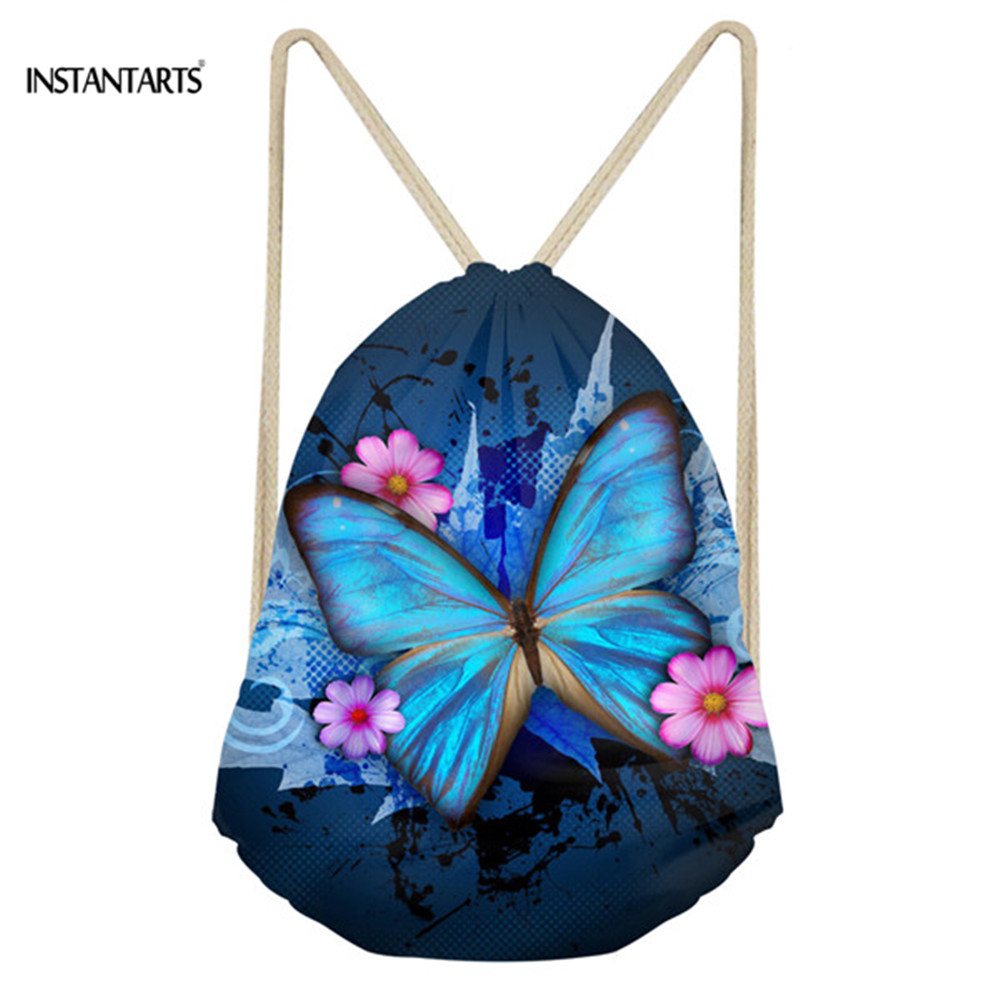 INSTANTARTS Pretty Butterfly Printing Women Drawstring Bag Super Light Fashion Mini Ladies Backpack Travel Fitness Shoulder