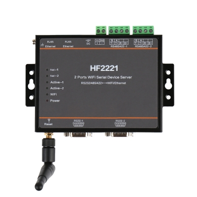 HF2221 2 Ports Wifi Serial Device Server RS232/RS422/RS485 To Ethernet / Wi-Fi Serial Server F22500