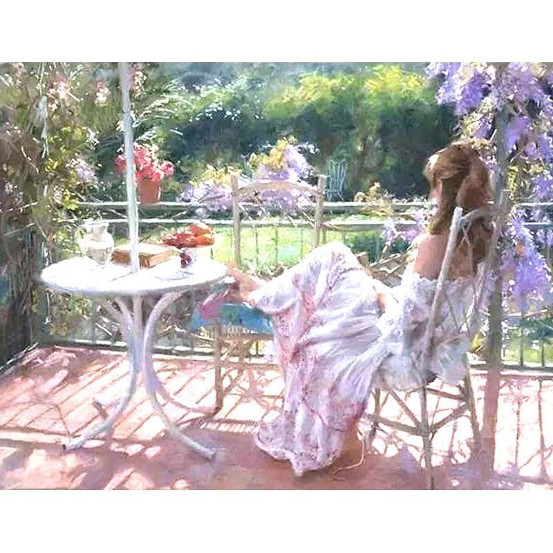 Redelijk Idyllische Balkon Stoel Meisje Figuur Diy Digitale Schilderen Door Getallen Moderne Muur Canvas Schilderij Uniek Geschenk Woondecoratie 40x50 Cm