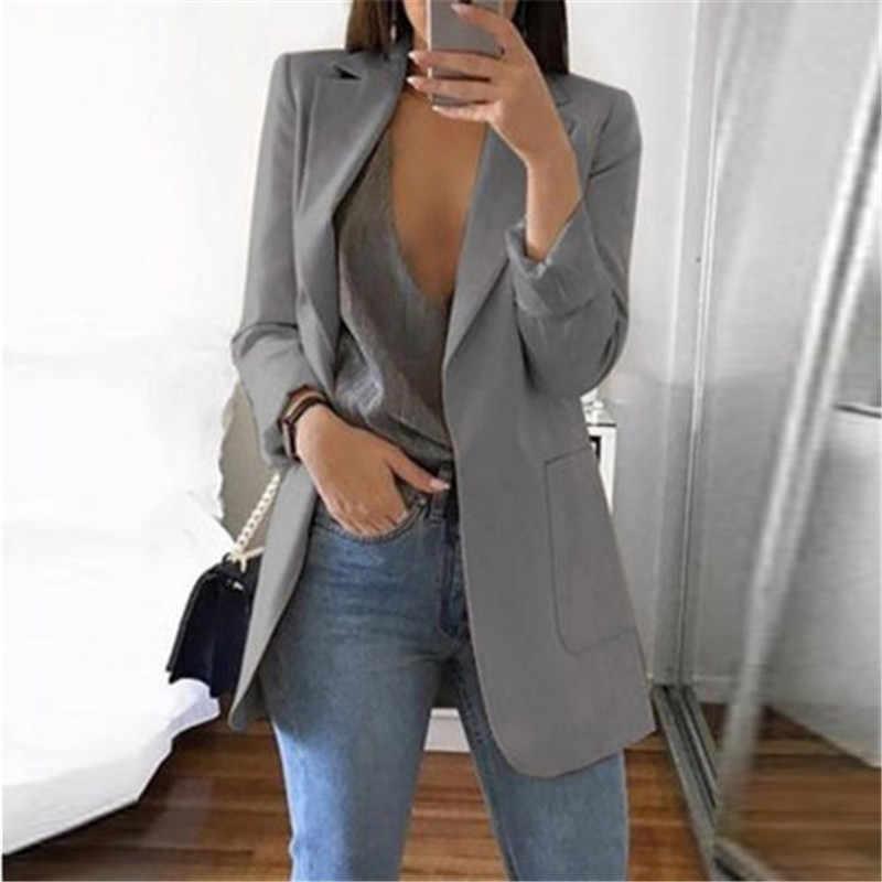 ファッションスリムブレザー女性秋春スーツジャケットの女性の仕事オフィスの女性のスーツと黒ポケットビジネスノッチブレザーコート