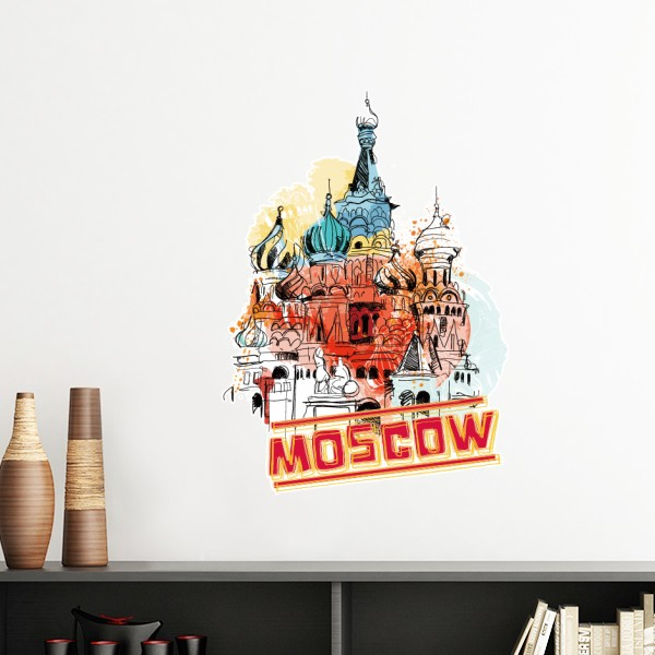 Watercolor City Russia Architecture Moscow Saint Basils Cathedral Removable Wall Sticker Art Decals Mural DIY Wallpaper In Stickers From Home Garden
