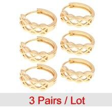 3 пары маленькие золотые серьги кольца для женщин