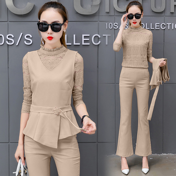 ea8e69536 Women Pant Suits Bandage vest hollow out lace Sets Work Wear 3 ...