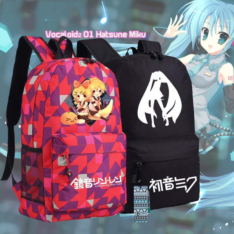 Hatsune Miku Vocaloid Vocanese Backpack Anime bags Student Back to School Schoolbags AS Gift 45x32x13cm Boys Girls Mochila vocaloid 3 hatsune miku kaito cosplay shoes anime boots
