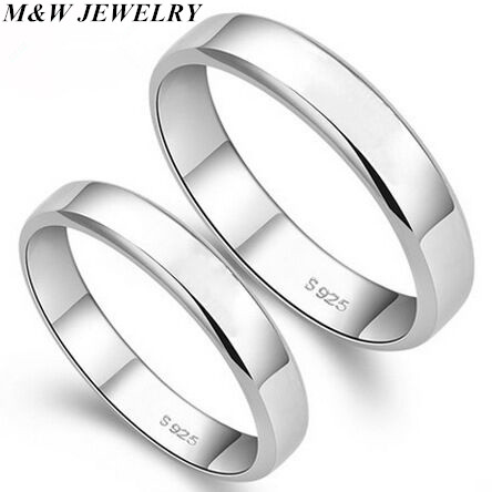 M&W JEWELRY 925 Pure Silver Couple Rings Lover Of Light Is Love Ring Personality Ms Male Hot Sale Top Fashion Exquisite jewelry