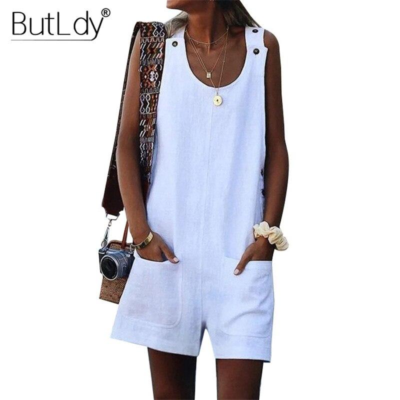 Tank Short   Jumpsuit   Women Summer Romper 2019 Large Plus Size 5XL Button Playsuit Sleeveless Loose Bodysuit Cotton Linen Overalls