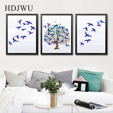 Nordic Art Home Decor Canvas Painting Simple Bird Watercolor Printing Wall Poster for Living Room  DJ91