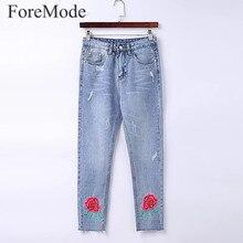 Foremode женщины прямые джинсы женский boyfriend цветок вышивка джинсовые брюки vintage высокой талией джинсовые брюки