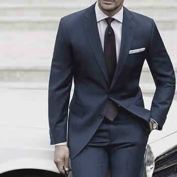c1615671ac78a Erkekler Için düğün Takımları 2018 Custom Made Erkek Takım Elbise Pantolon  Ile Koyu Mavi Gri Takım elbise Kostüm Homme Mariage Luxe terno Slim