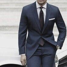 Trajes de boda para hombre 2019 trajes para hombre hechos a medida, con pantalones traje a medida azul gris traje de hombre Mariage Luxe Terno Slim