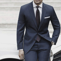 Wedding Suits For Men 2018 Custom Made Mens Suits With Pants Dark Blue Grey Tailored Suit Costume Homme Mariage Luxe Terno Slim