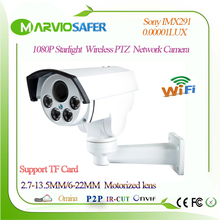 1080P 2MP FULL HD CCTV WIFI Starlight PTZ IP Network Camera IPCAM 6-22mm Motorized Zoom Lens Colorful Night Vision Sony IMX291