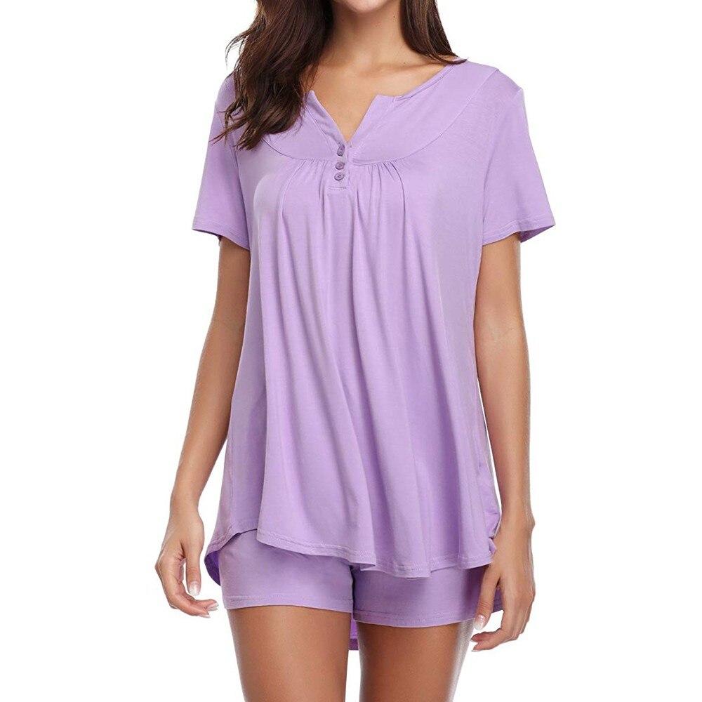 GemäßIgt Pyjamas Für Frauen Taste Kurzarm Nachtwäsche Set Pyjama Sets Bambus Tank Und Shorts Set Hause Kleidung # Xtn Belebende Durchblutung Und Schmerzen Stoppen Damen-nachtwäsche Schlaf-oberteile
