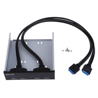 5.25 inch USB 3.0 Connectors Terminals For PC DIY Accessories Front Panel Floppy Disk Bay 4 Ports Hub Bracket Cable AA
