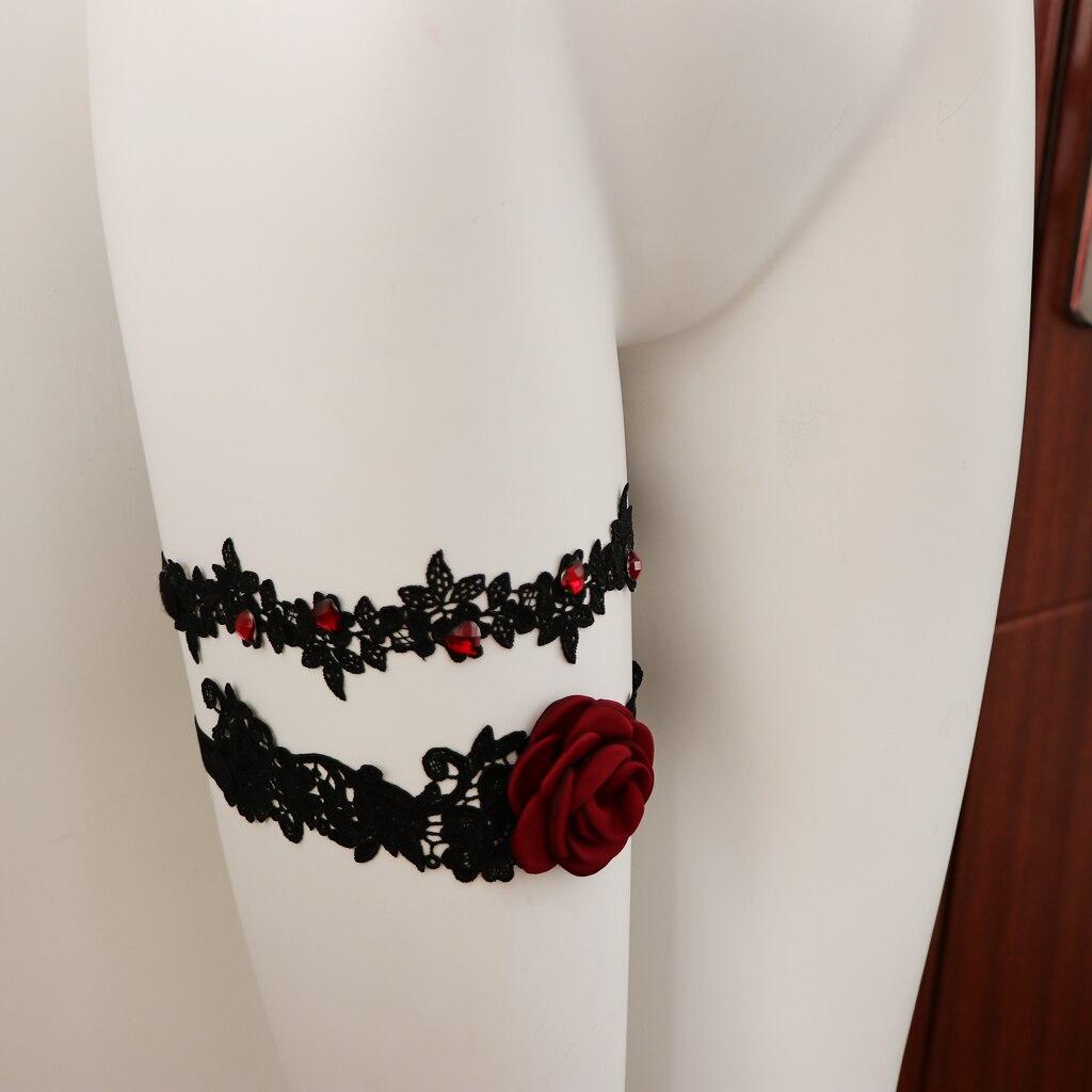 Wedding Garter Rose Flower Black Sexy Garters 2pcs set for Women Bride Thigh Ring Bridal Leg Garter Costume Accessory