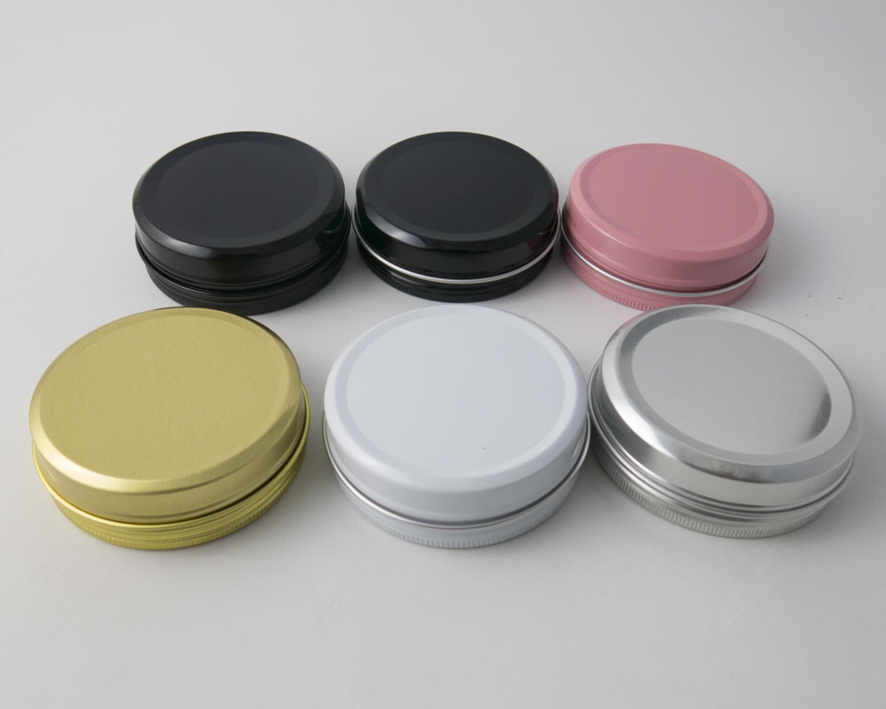 50 x 100g Empty Aluminum Jar Make Up Metal Cream Jar Matte Black Pink Gold White