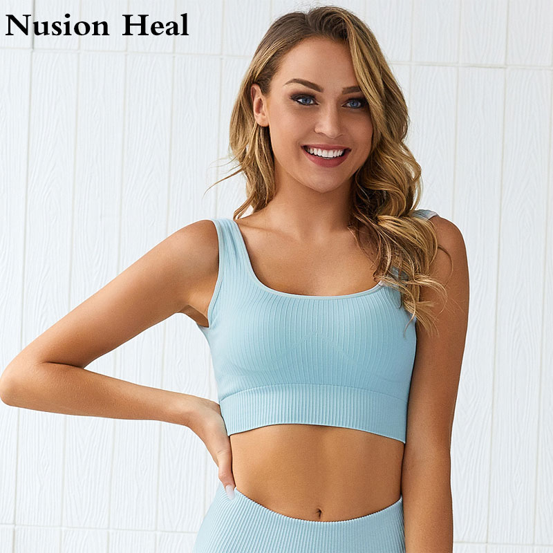 Women Professional Sports Bra Fitness Padded High Impact Straps Stripe Running Push Up Yoga Bra Top Gym Sport Top Running Bra
