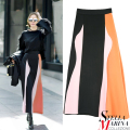 New Women Multi Color Casual Sexy Skirt Ankle Length A Line Fashion Wear Geometric Pattern Cotton Skirt Style 2135