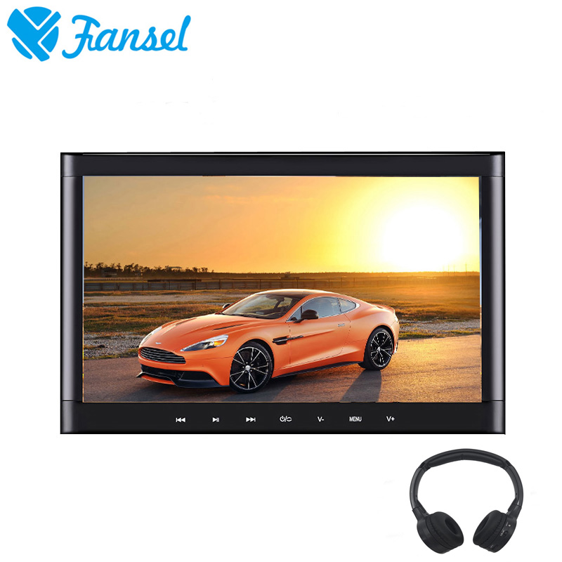 Fansel 10.1 Inch Car Headrest Monitor Touch Button Screen 1024x600 DVD Player Support HDMI/USB/SD/IR/FM Transmitter/Speaker/Game