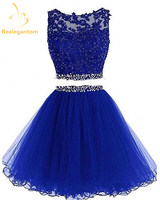 Bealegantom New Scoop Two Piece Mini A Line Homecoming Dresses 2018 With Appliques Prom Party Dresses Graduation Dress QA1083