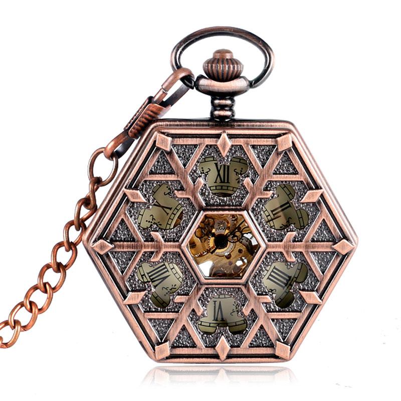Retro Carving Snowflake Hexagon Pocket Watch Chain Stylish Skeleton Mechanical Hand Winding Women Men Christmas Gift P2015C