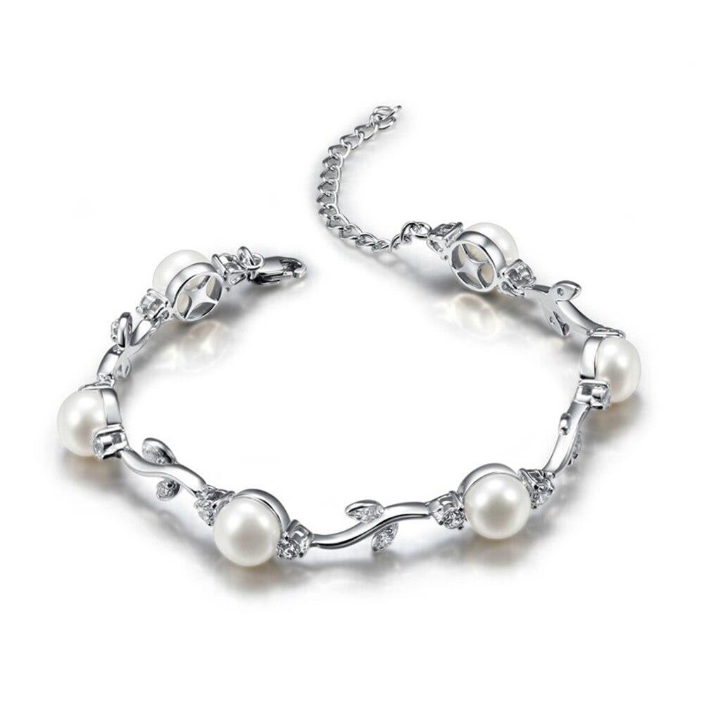 Sinya 925 bracelet en argent Sterling bijoux avec 6 pièces 7.5-8mm perles d'eau douce naturelles haute brillance bracelet en argent perle
