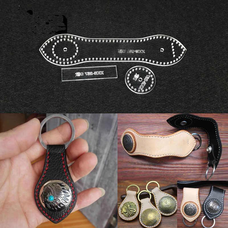 572a32e40 1 set Plantilla de plantilla acrílica DIY cuero hecho a mano hebilla de  llave patrón de