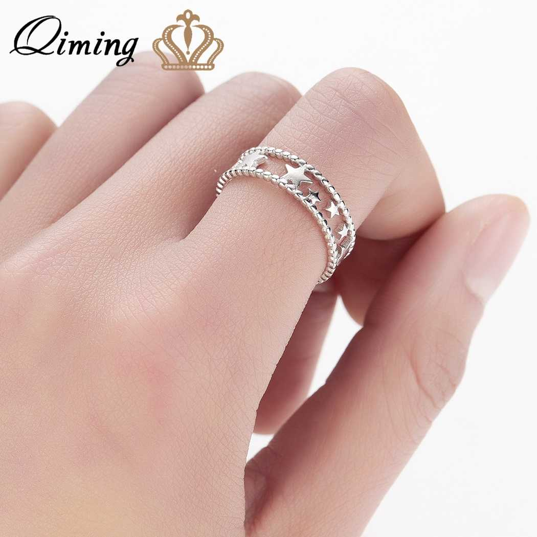QIMING Silver Star Korean Women Ring Bague Wedding Plant Little Stars Open Vintage Jewelry Adjustable Cute New Rings Girls Gift