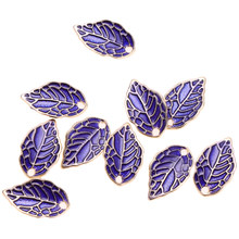 10 Pieces Purple Leaf Shape Pendant Earring Necklace Diy Jewley Crafts Jewelry Making Supply