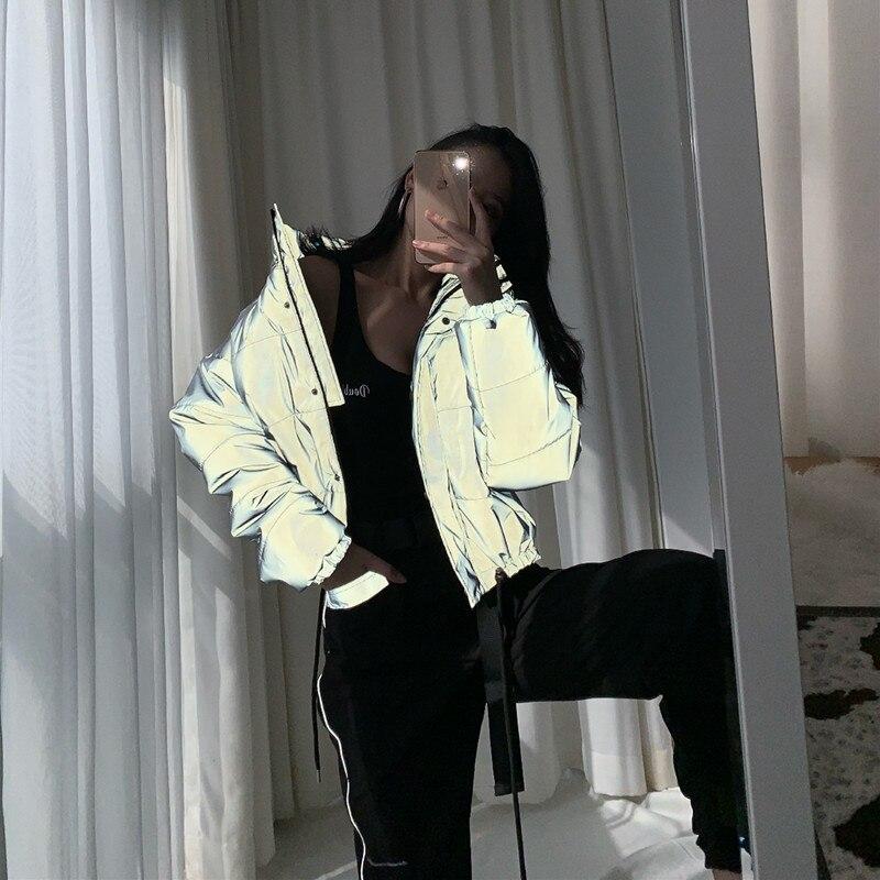 Зимняя Куртка парка осень 2018 г. для женщин Светоотражающие хлеб водолазка подпушка куртка S Свободные Толстые пальт