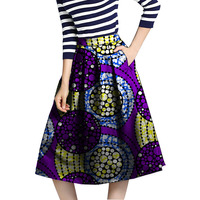 2018 African skirt Clothing The New Fashion Ankara Hot Style Of Tall Waist Abstract Flower Skirts Printed Clothing Customized