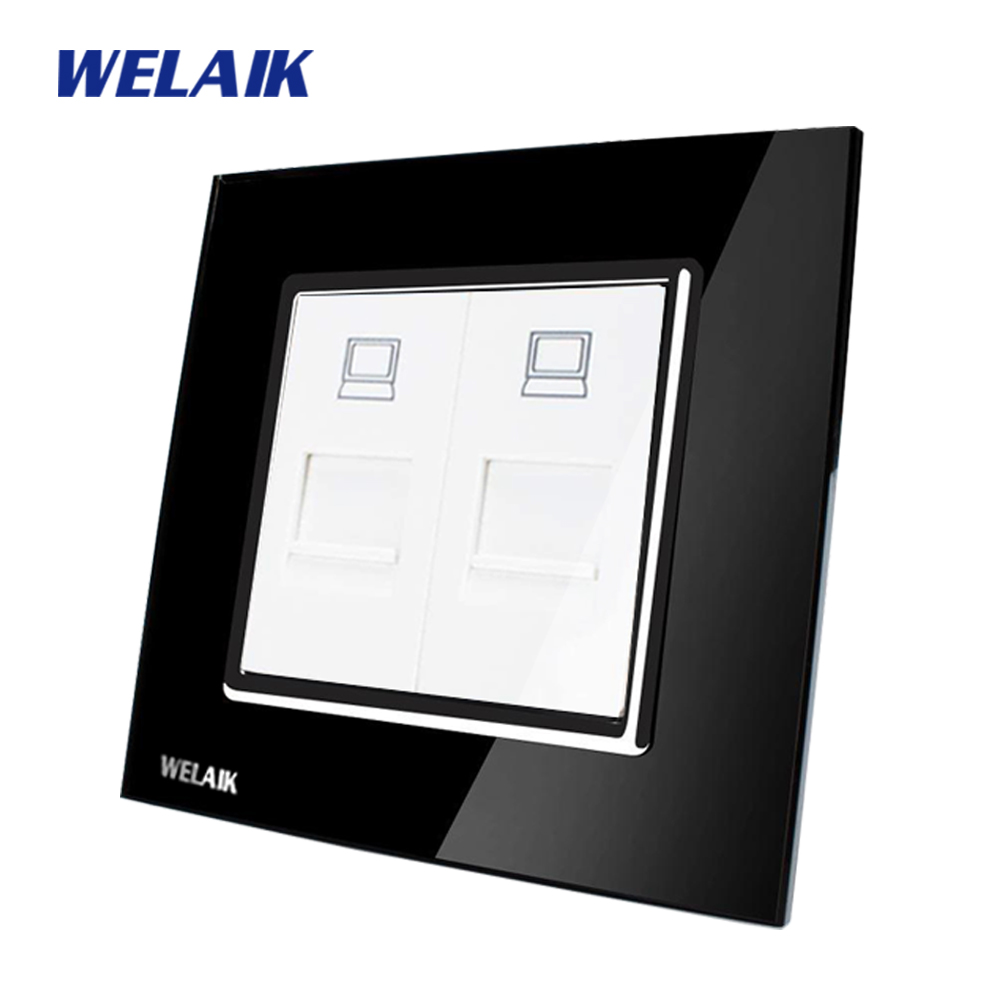 WELAIK  Free shiping Crystal Glass Panel 1Frame EU Black Wall Socket  Computer socket A182COB free shipping car refitting dvd frame dvd panel dash kit fascia radio frame audio frame for 2012 kia k3 2din chinese ca1016