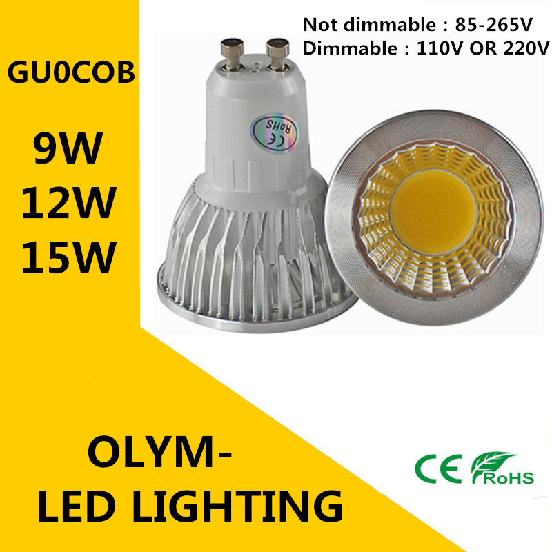 Super Bright GU10 Bulb Light Dimmable Led Ceiling light Warm/White 85-265V 9W 12W 15W GU10 COB LED lamp light GU10 led Spotlight