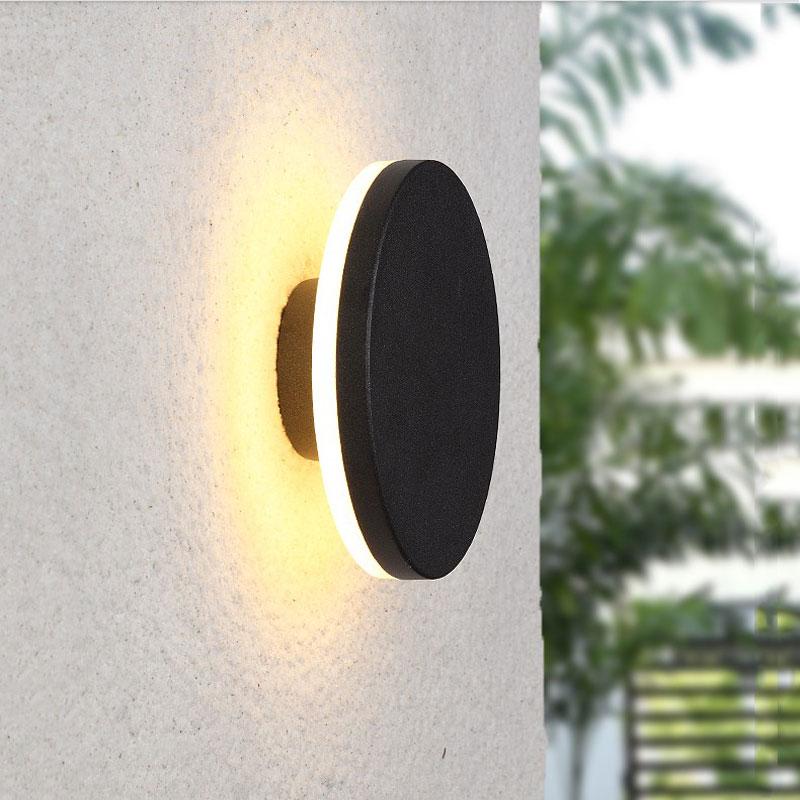 Ultra thin led waterproof wall lamp, round outdoor lighting garden residential corridor eclairage exterieur