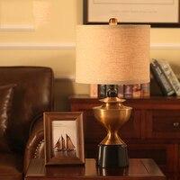Европейские антикварные Прикроватные светильники Винтаж настольные лампы для Спальня света металла стол свет ткань Прикроватные светильн